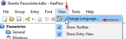 KeePass Anleitung View und dann Change Language