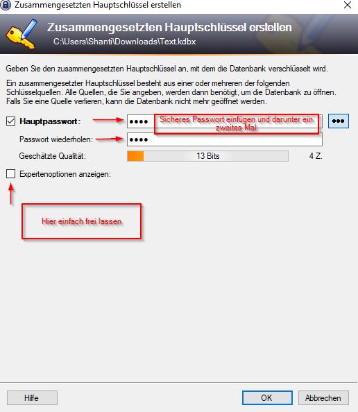KeePass Anleitung Masterpasswort