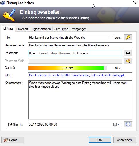 Keepass Anleitung Neues Passwort erstellen