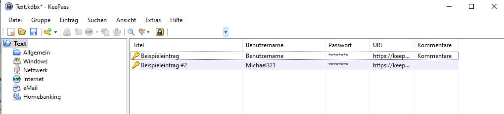 KeePass Anleitung Kategorien