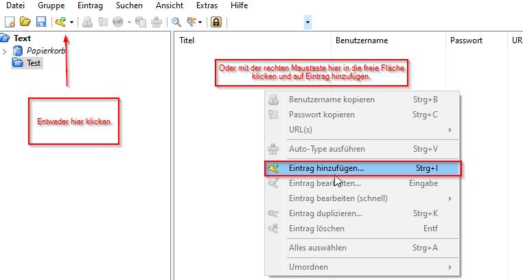 KeePass Anleitung Neuen Eintrag erstellen