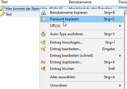 KeePass Anleitung Passwort kopieren